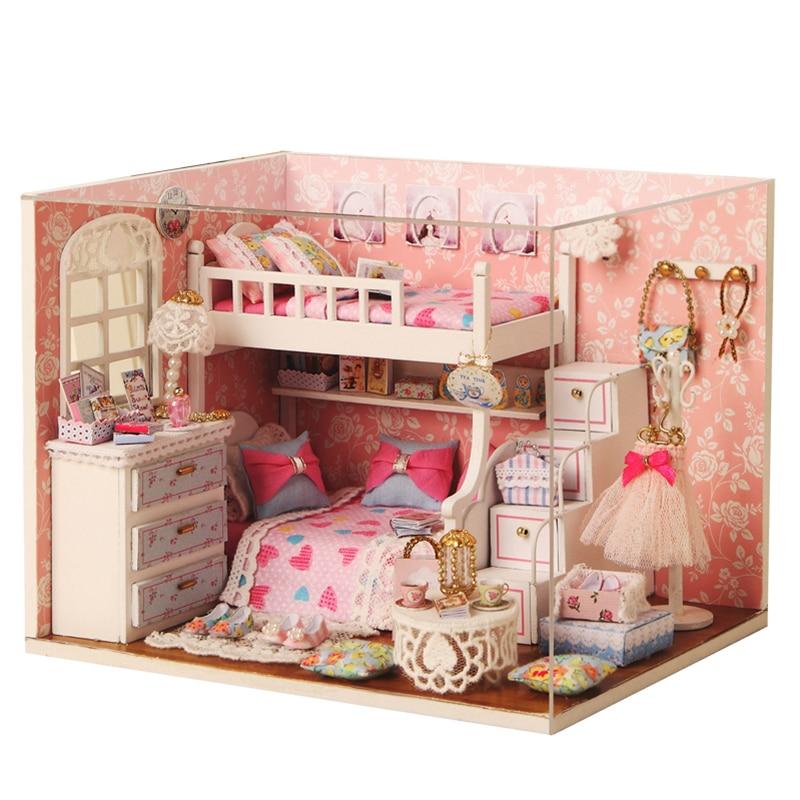 Cutebee DIY House Miniature with Furniture LED Music Dust Cover Model Building Blocks Toys for Children Casa De Boneca