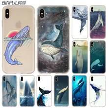 Funda suave de silicona para iPhone 11 Pro X XS Max XR 6 6S 7 8 Plus 5 4S SE acuarela ballena Anime funda bonita