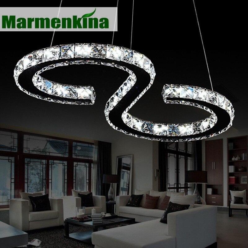 Marmenكينا-مصباح معلق LED من الفولاذ المقاوم للصدأ مع حلقة ألماس ، تصميم حديث ، إضاءة داخلية ، مصباح سقف مزخرف ، كريستالات ، 24 واط ، كروم