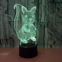 סנאי 3d מנורת מפעל סיטונאי 7 צבע שינוי מגע Led חזותי שולחן מנורות מתנה אווירה שולחן העבודה 3d שולחן מנורה