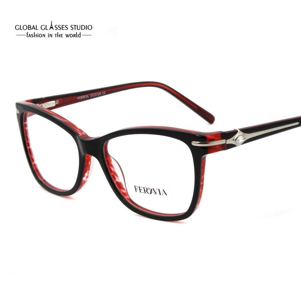 Moda francês design colorido acetato óculos quadro óculos vinho azul cor preta feminino eyewear fvg7093