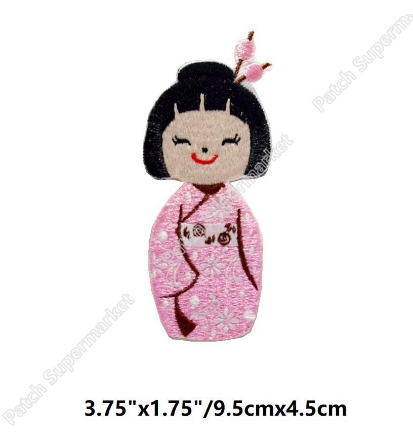 "3.75"" Kimono Geisha Japanese Asian Doll Pink sakura Embroidered Iron On Patch Hat jacket Vest music band rock punk badge"