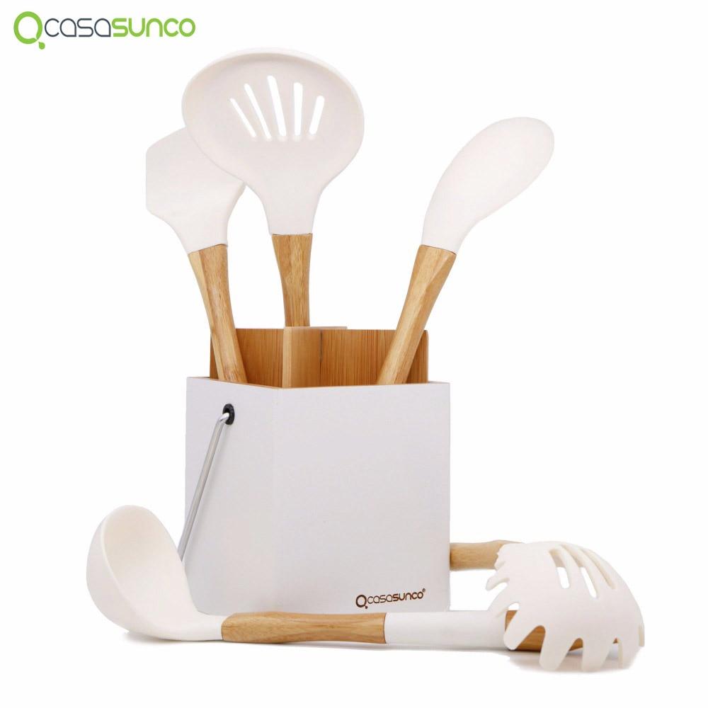 Силиконовый кухонный набор с держателем из натурального бука, термостойкий антипригарный набор кухонных принадлежностей Turner-CASASUNCO