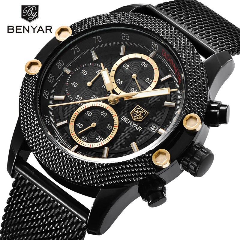 Reloj cronógrafo BENYAR para hombre, reloj deportivo resistente al agua de acero inoxidable para hombre, relojes de pulsera de lujo de marca superior, reloj militar de ejército para hombre 5109