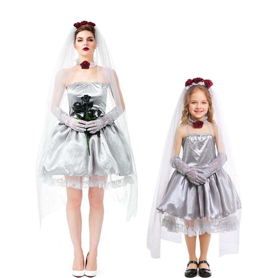 Disfraz de novia de umarden, fantasma sin sangre, cadáver, para mujeres, chicas adolescentes, Día de los Muertos, Día de los Muertos