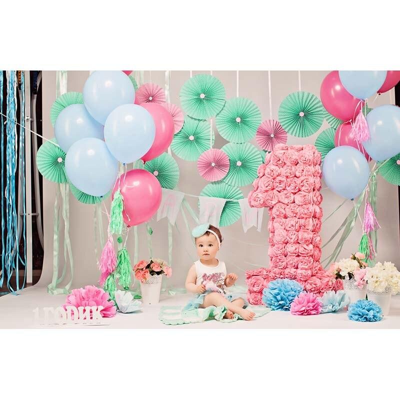 Baby 1st Birthday Party Backdrops Photography Balloon Paper Flowers Decor Interior Scene toile de fond pour photo anniversaire