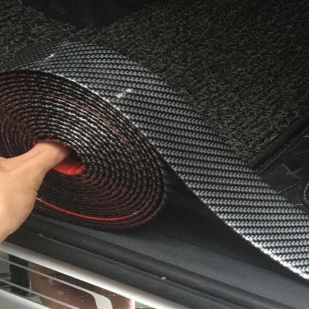 2,5 metros 5CM decorativo de goma de fibra de carbono parachoques modificación suministros umbral cubierta etiqueta de seguridad tira de protección