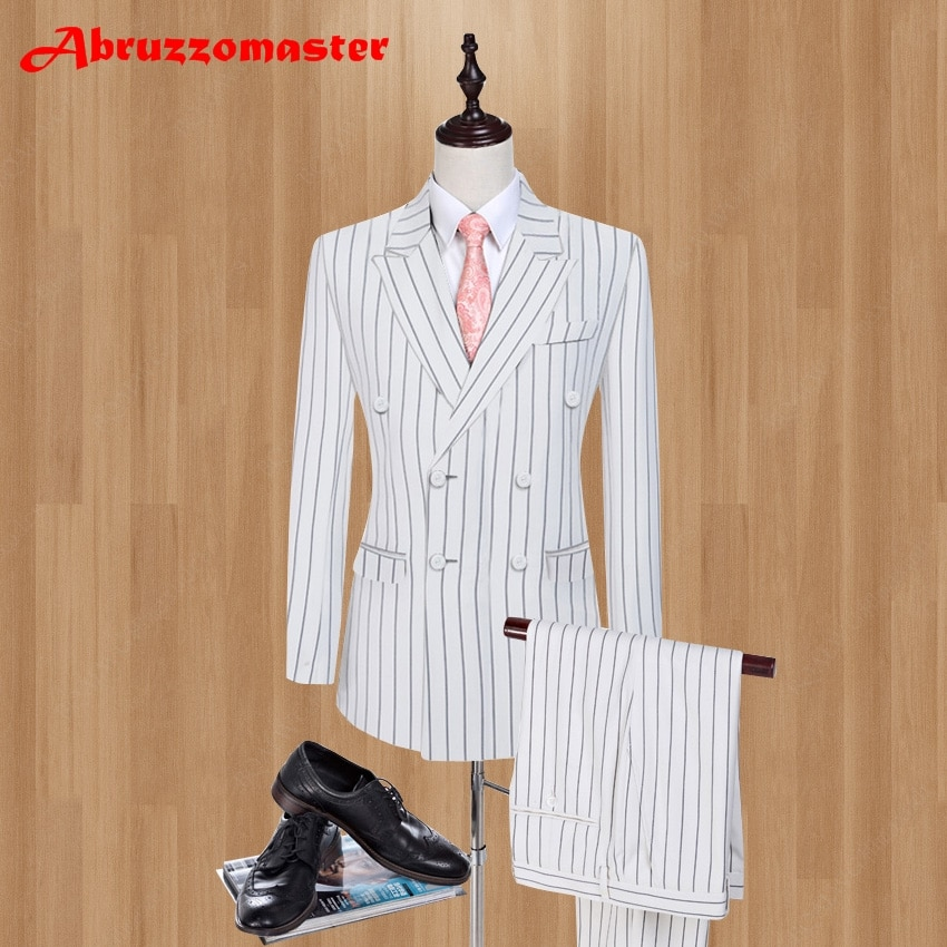 2021 بدل زفاف مقلمة العريس البدلة مزدوجة الصدر العريس البدلة مخصص رجل البدلة الذكية عادية الدعاوى سترة + السراويل