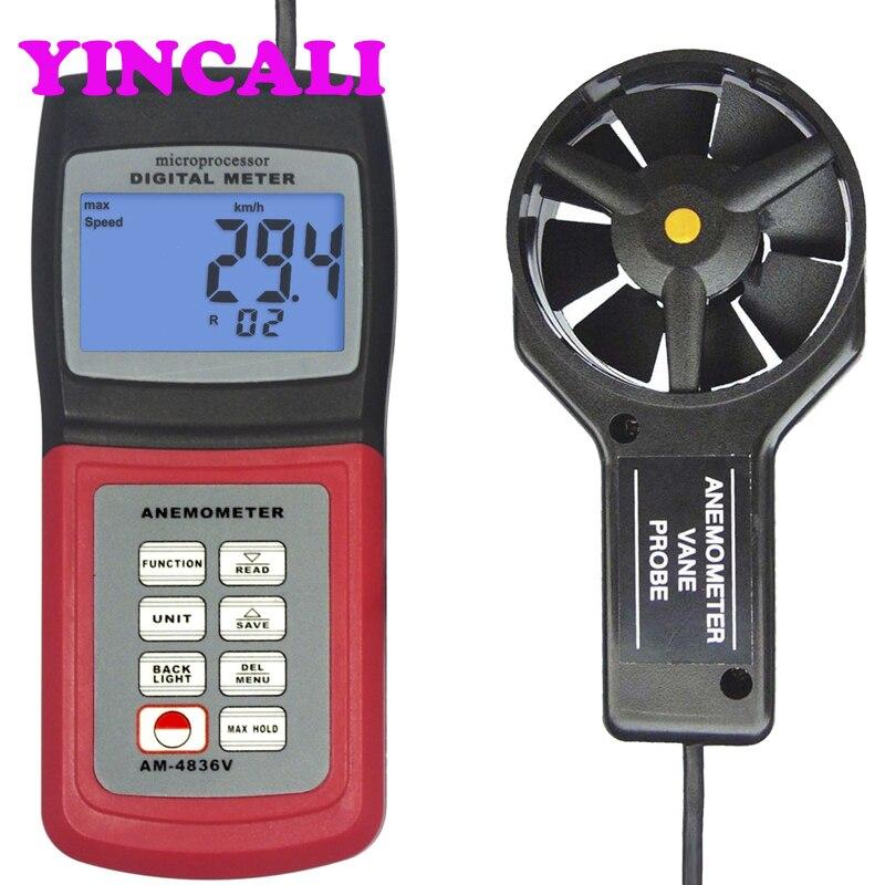 متعددة الوظائف الرقمية مقياس شدة الريح AM-4836V الرياح سرعة تدفق اختبار سرعة الهواء درجة الحرارة قياس متر AM4836V عرض LCD