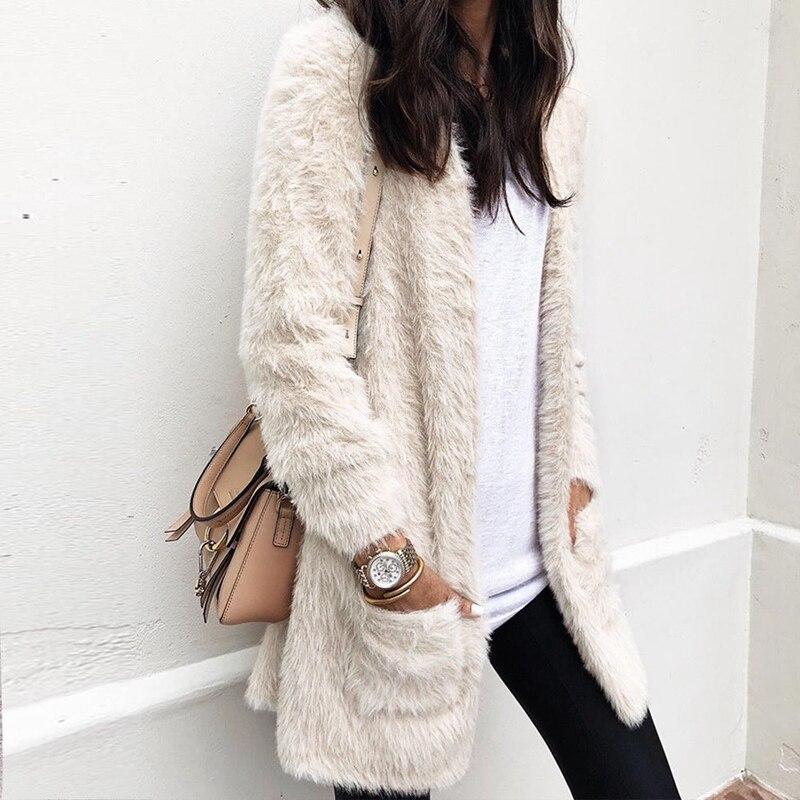 Chaqueta de piel sintética 2019 para mujer, cárdigan de lana para invierno, abrigo de oso de peluche de felpa, abrigo de abrigo informal cálido con bolsillos, abrigo S-XL