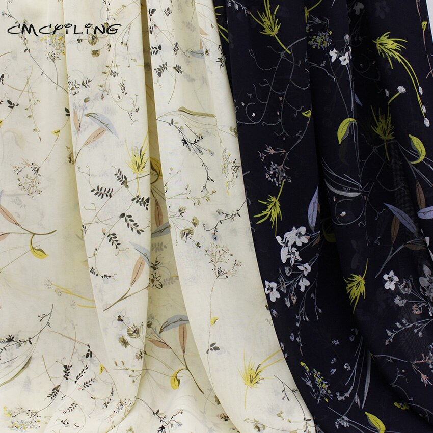 Cmcyiling tecido de chiffon impresso floral para o vestido de verão camisas costura tule tecidos tecido de pano de poliéster vestuário 50*150 cm