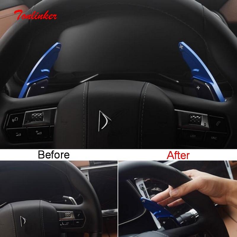 Tonlinker 2 قطعة سيارة عجلة القيادة تحول مجداف غطاء ملصق لسيتروين DEESSE DS7 2018-19 سيارة التصميم الألومنيوم غطاء ملصقات