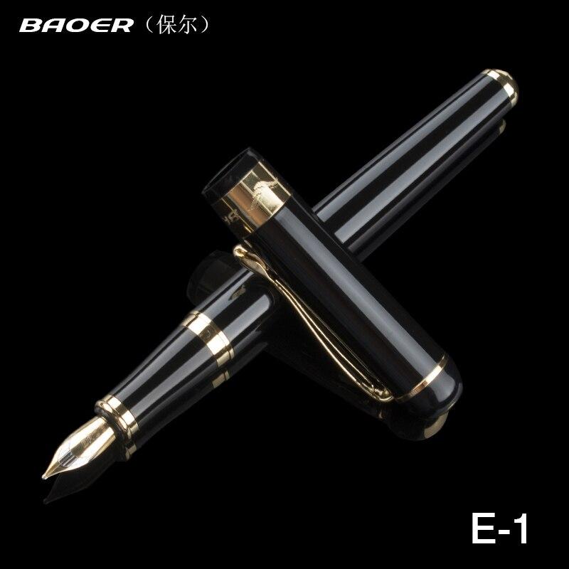 Черная школьная Ручка Baoer, роскошная металлическая перьевая ручка для финансов, чернильные ручки для письма 0,5 мм