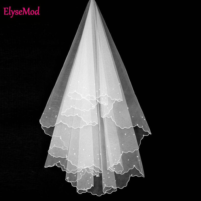 2018 Wholesale 1.2 Meters White Wedding Veils Bridal Mrrige Short Pearl Soft Yarn Wedding Accessories Velos De Novia