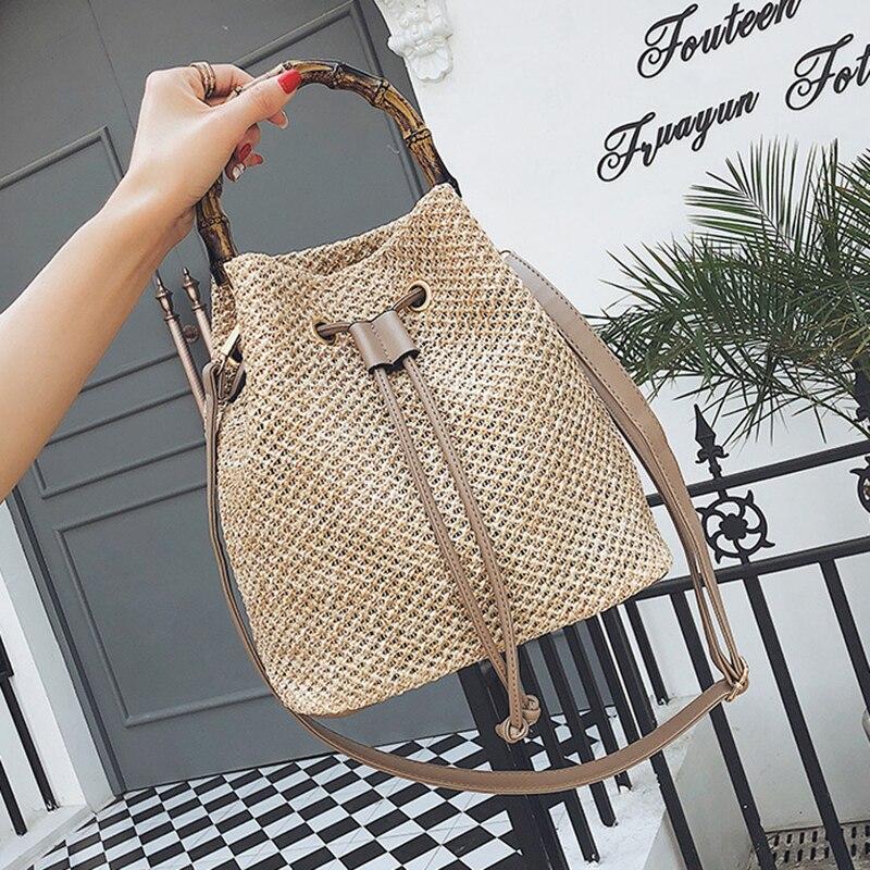 FGGS Новая женская Соломенная Сумка-ведро на завязках, летние тканые сумки на плечо, сумка для покупок, пляжная сумка, соломенные сумки, дорожн...