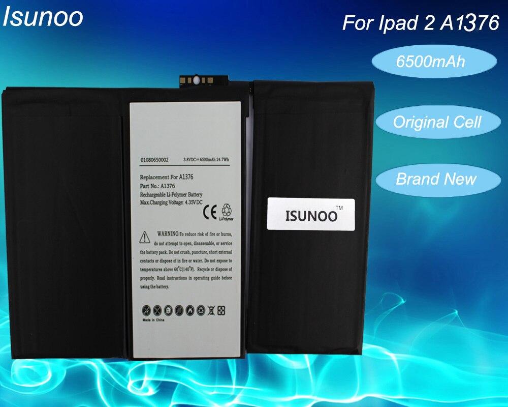 Batería ISUNOO para iPad 2 2nd A1376 A1395 0 ciclo 6500mA Reparación de piezas de repuesto de batería con herramientas de reparación gratuitas
