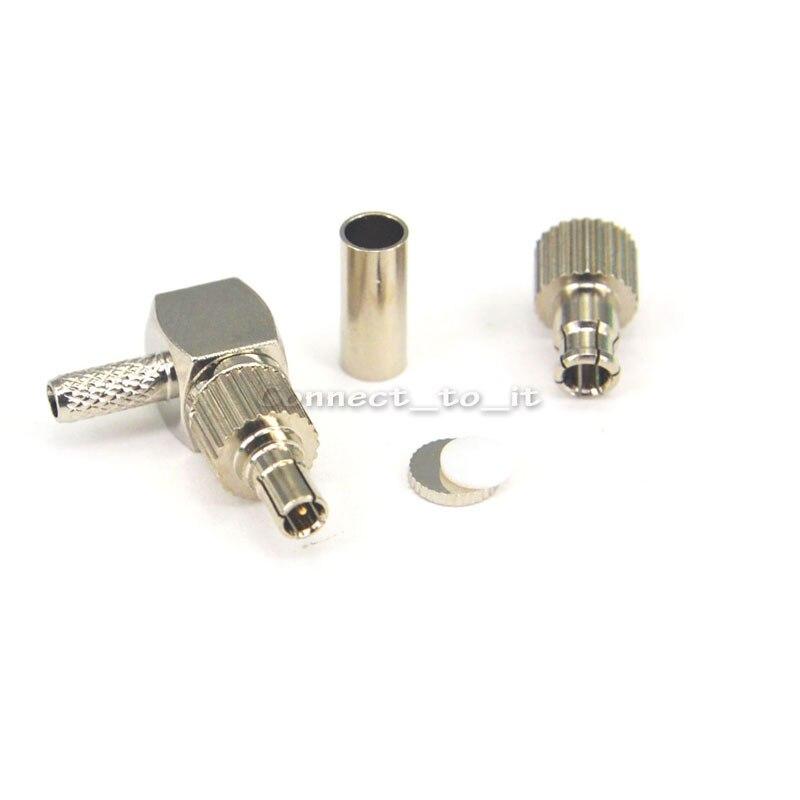 4 peças 2 em 1 TS9/Adaptador Rightangle para RG174 RG178 RG316 LMR100 CRC9 Masculino RF Connector