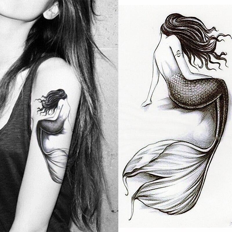 1 unids/set de pegatinas pequeñas de tatuaje temporal a prueba de agua con brazo lleno de flores sirena para arte corporal para hombres y mujeres