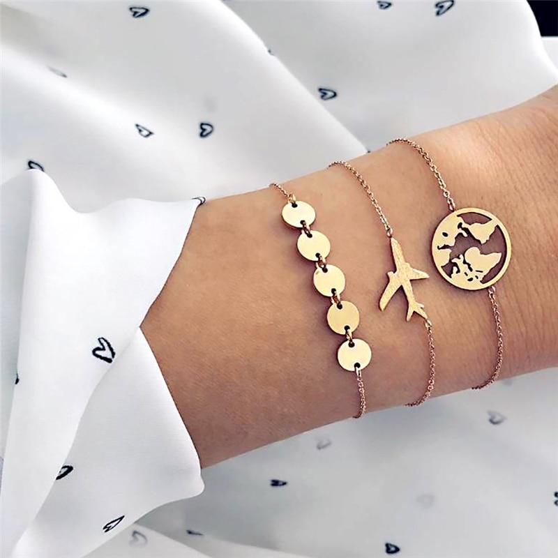 3pcs /Set Charm Bracelets for Women World Map Airplane Travel Creative Geometric Gold Sequins Chain Bracelets Jewelry pulseras