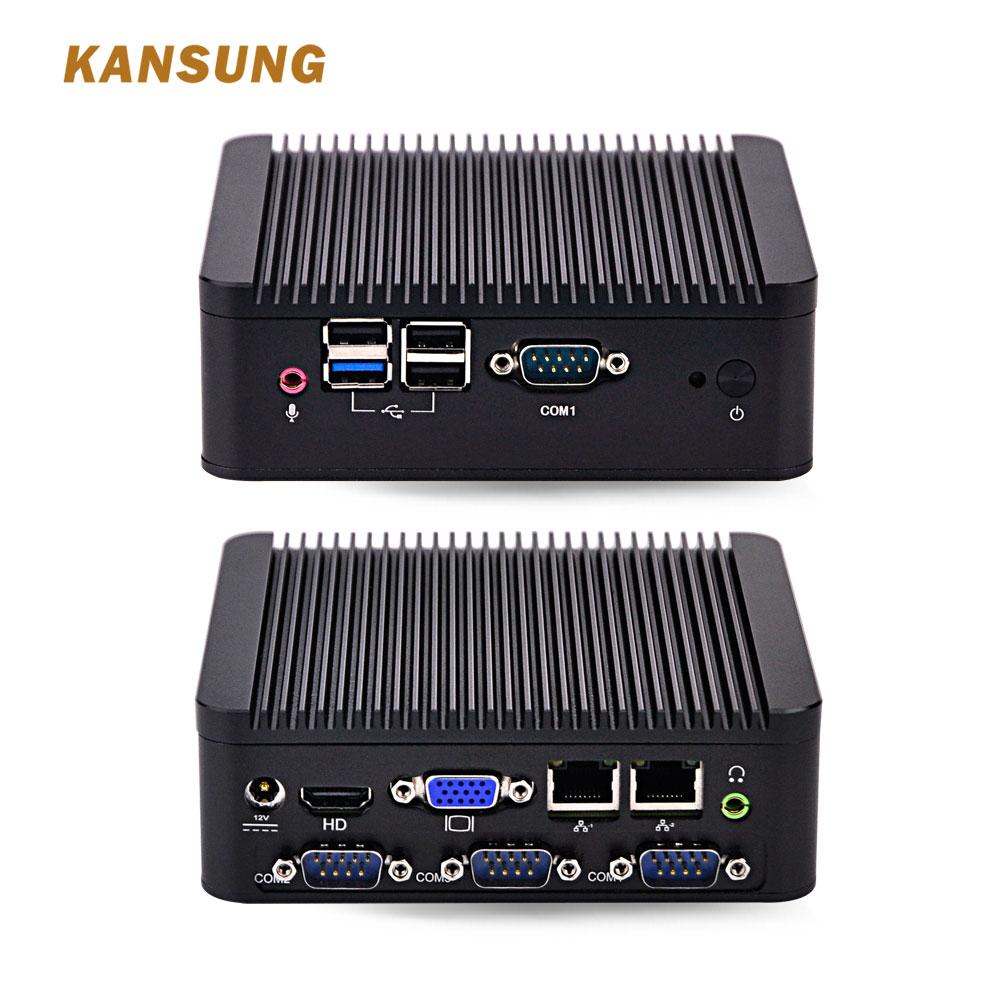 KANSUNG безвентиляторный мини PC Bay Trail j1900 четырехъядерный 2NIC 4 COM работает 24/7 промышленный компьютер Barebone система мини ПК 12В