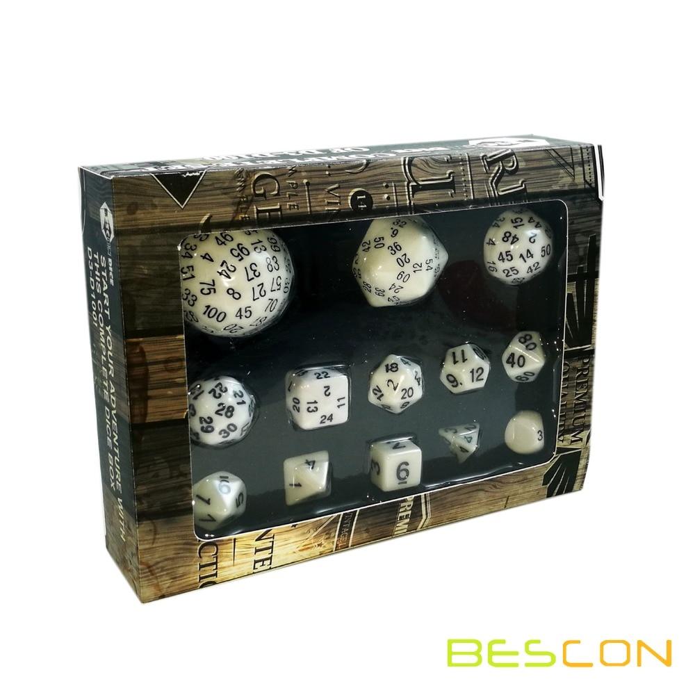 Conjunto de dados poliédricos Bescon 13 Uds D3-D100, juego de dados de 100 lados blanco opaco