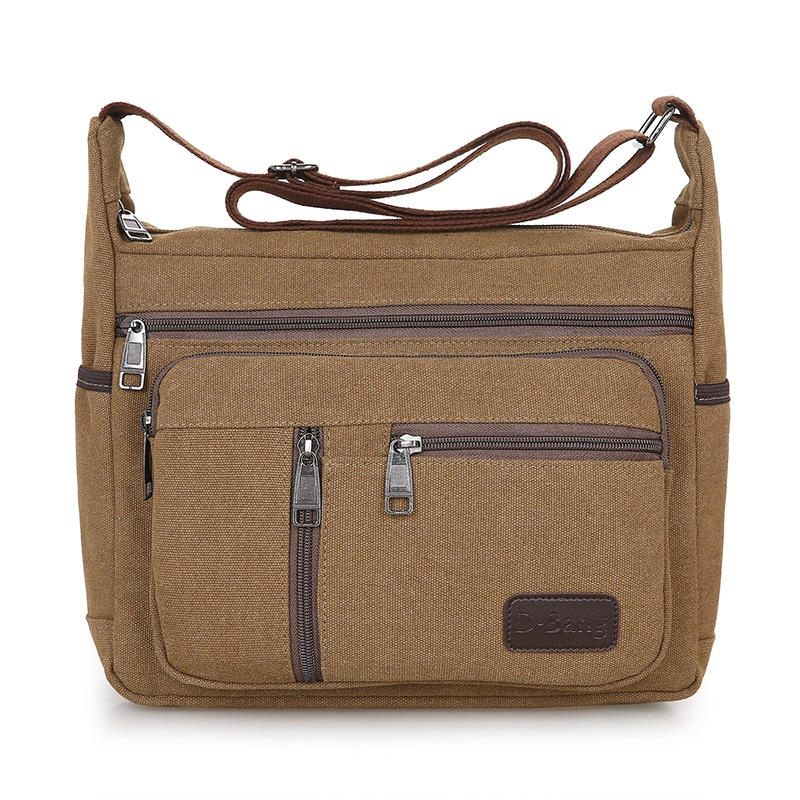 Men Canvas Shoulder Bag Multifunction Casual Travel Crossbody Bags Vintage Solid Zipper Men Messenger Top-handle Handbags