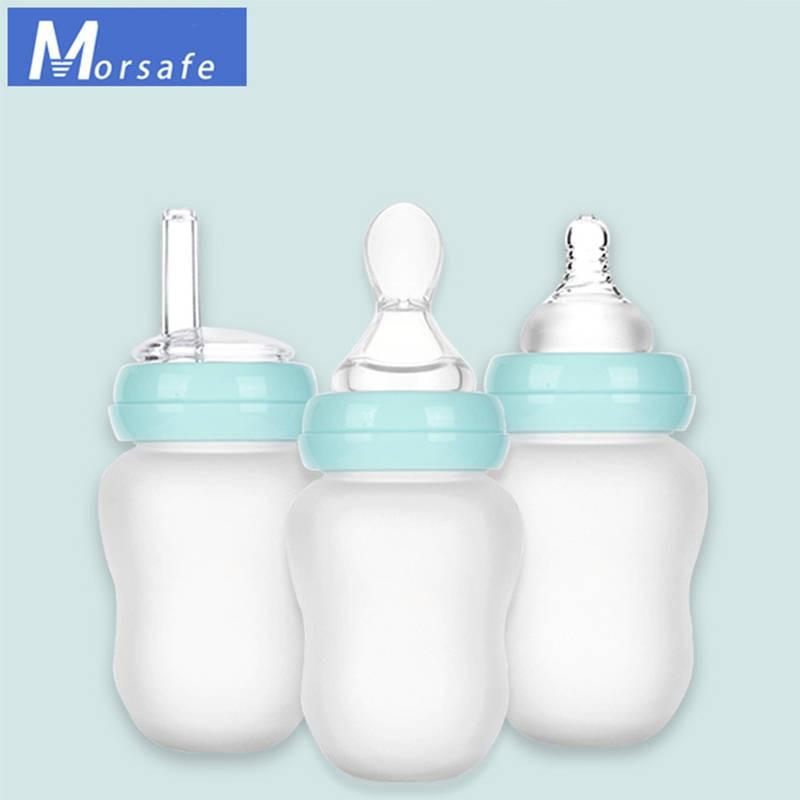 180ml 3 em 1 garrafa de alimentação do bebê recém-nascido boca larga sílica gel garrafa de leite infantil leite de enfermagem água suco de frutas garrafas de alimentação
