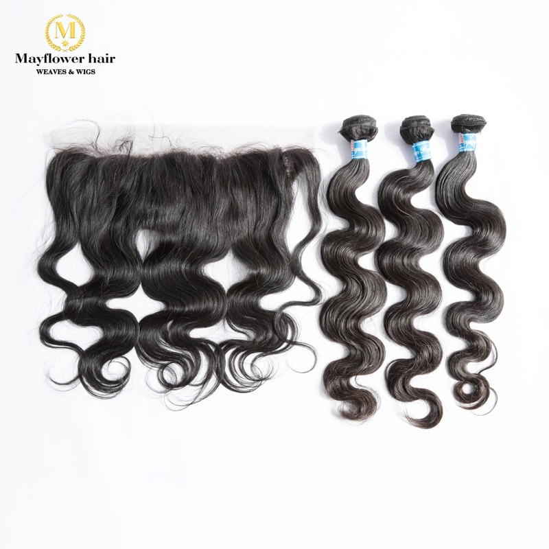 MFH 2/3/4 Bundles Virgin Malaysian body wave hair with 13x4