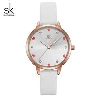 shengke women watches top brand luxury quartz ladies heart dial leather wrist watch relogio feminino 2021 sk women watches k8049