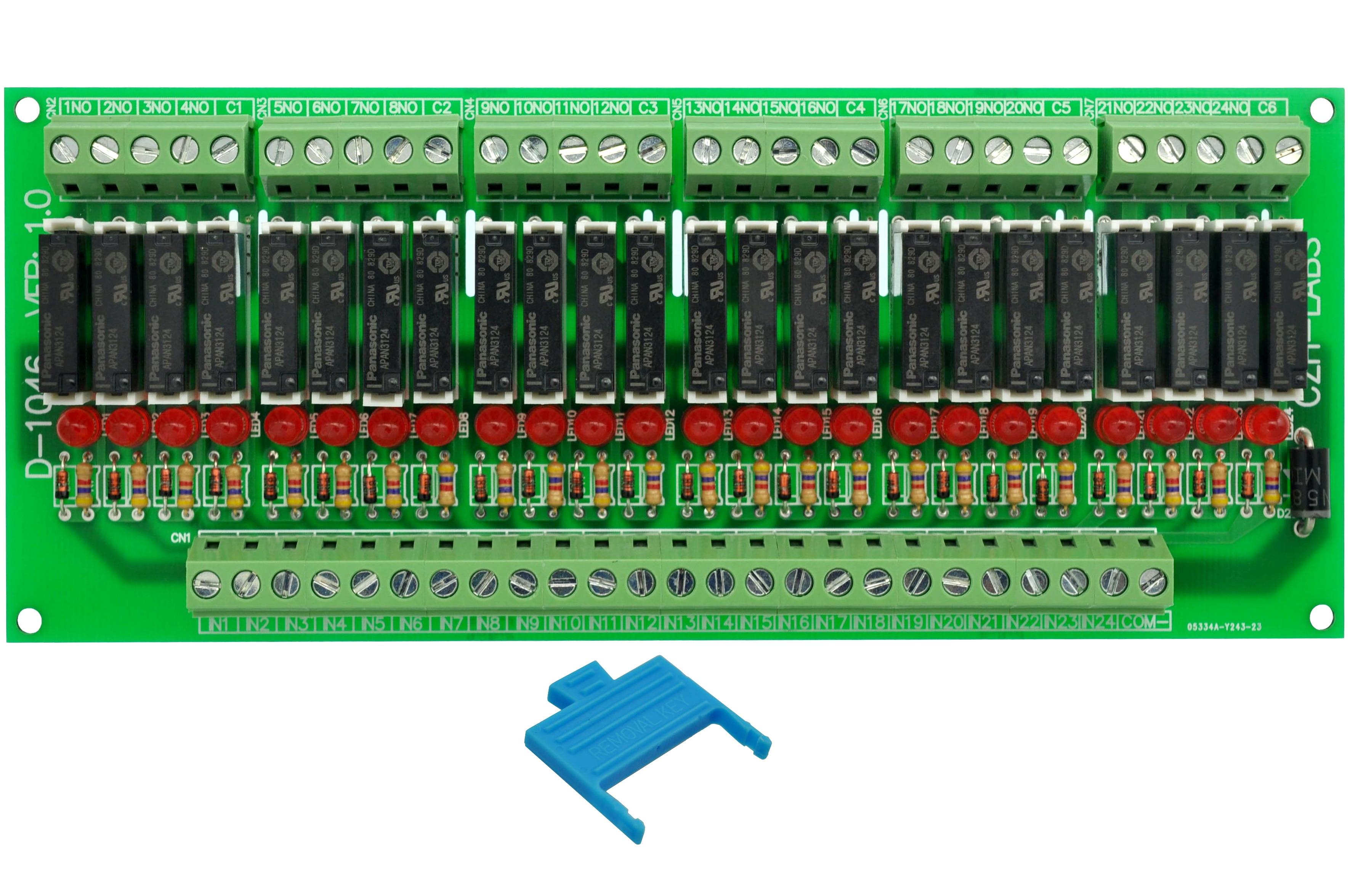 Montaje en Panel delgado DC24V fuente/PNP 24 SPST-NO 5A módulo de relé de potencia, APAN3124