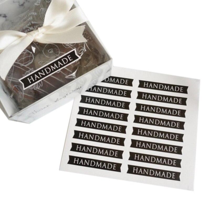 160 unids/paquete, Simple negro, hecho a mano, largo, sello de etiqueta para pastel, embalaje, adhesivo de papel Kraft, pegatinas de hornear, pegatinas de regalo de manualidades
