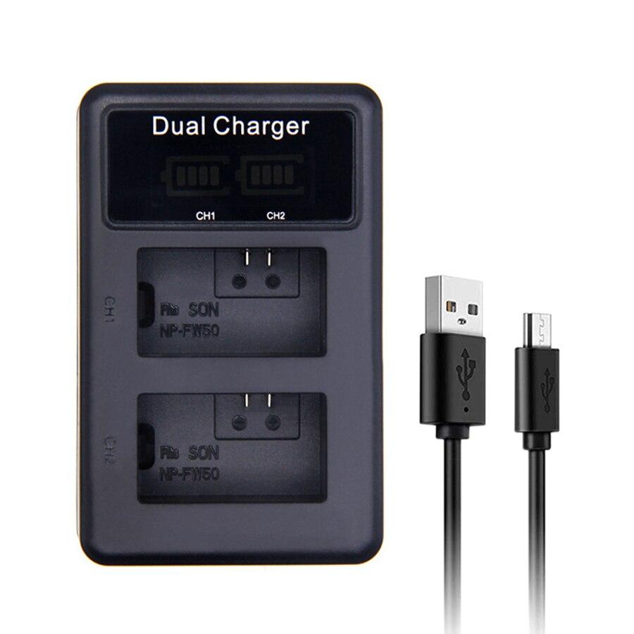 SANGER NP-FW50 LED cargador Dual USB para Sony Alpha NEX F3 6...