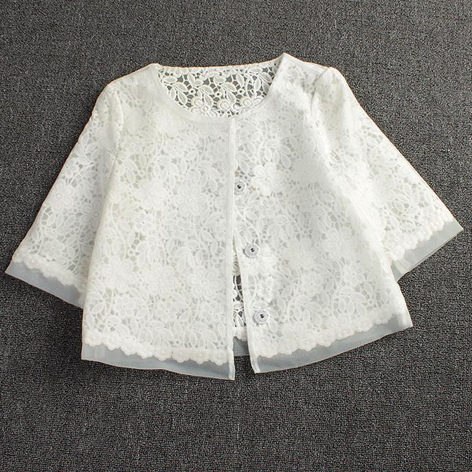 Primavera verão novo laço xale jaqueta grande tamanho feminino organza casaco único breasted branco oco terno topos