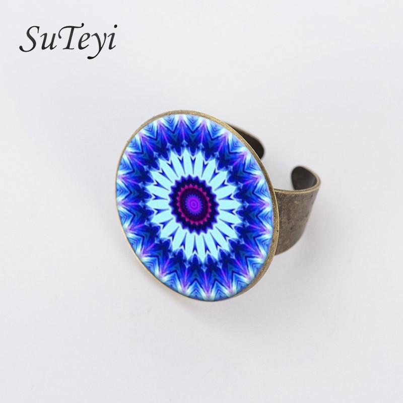 SUTEYE, 2017, anillo Vintage con motivos geométricos y flores de Mandala, moda para mujer, accesorios de vestir, joyería