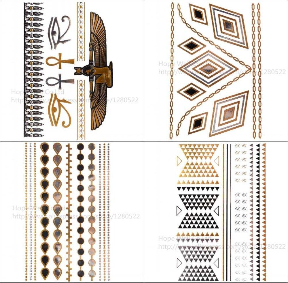 4pcs/lot Flash Metallic Tattoo Gold and Silver Jewelry Inspired Temporary Tatoo Geometric Tribal Art