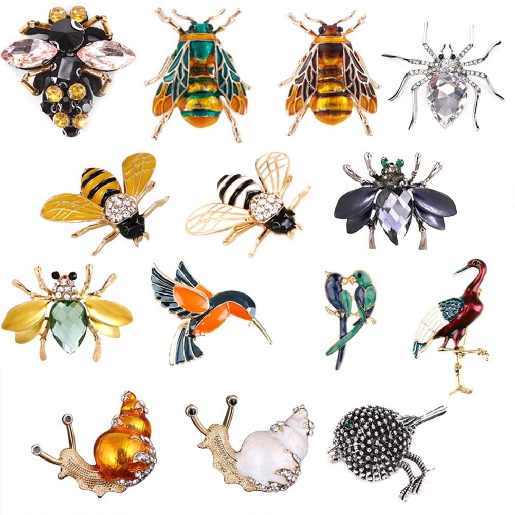 Пчела, жук, краб, муравья, улитка, птицы, броши, Скорпион, горный хрусталь, винтажная животная бижутерия, аксессуары, брошь