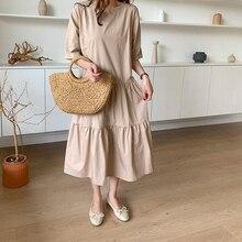 AIYANGA kobiety bawełniana letnia sukienka 2019 koreański styl luźny, typu oversize długa sukienka Femme INS Chic damska Casual sukienka vintage