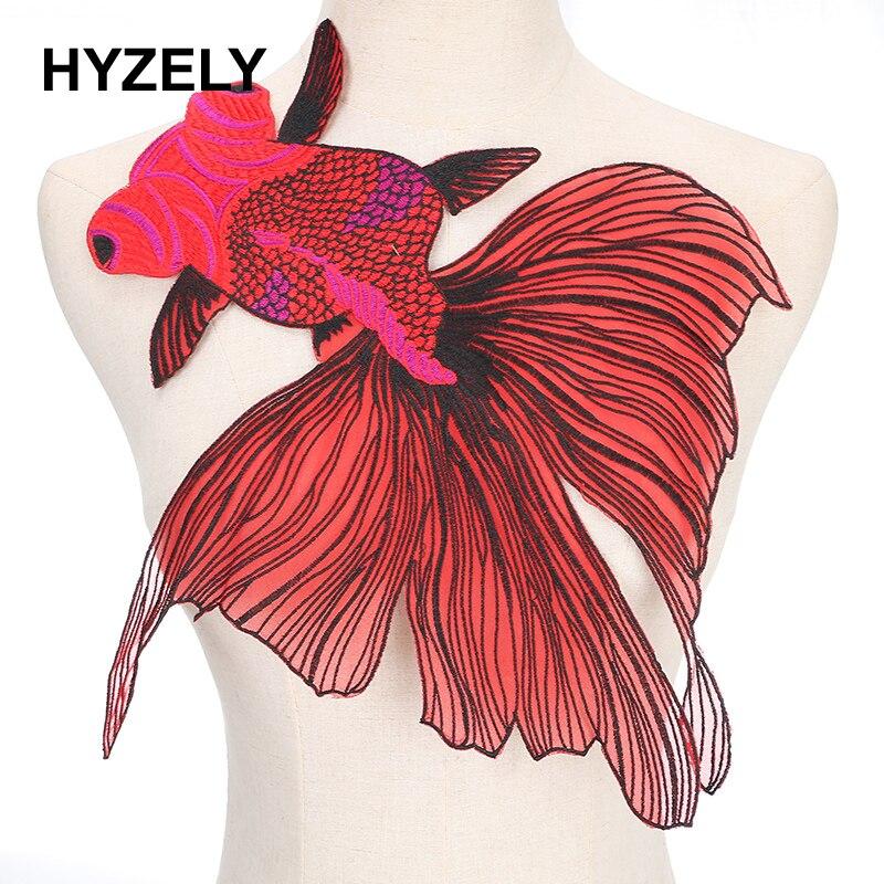 Патчи с большой рыбкой для шитья одежды, 1 шт., 38*35, аппликация, аксессуар для самостоятельного изготовления, кружевной воротник с вырезом, NL079