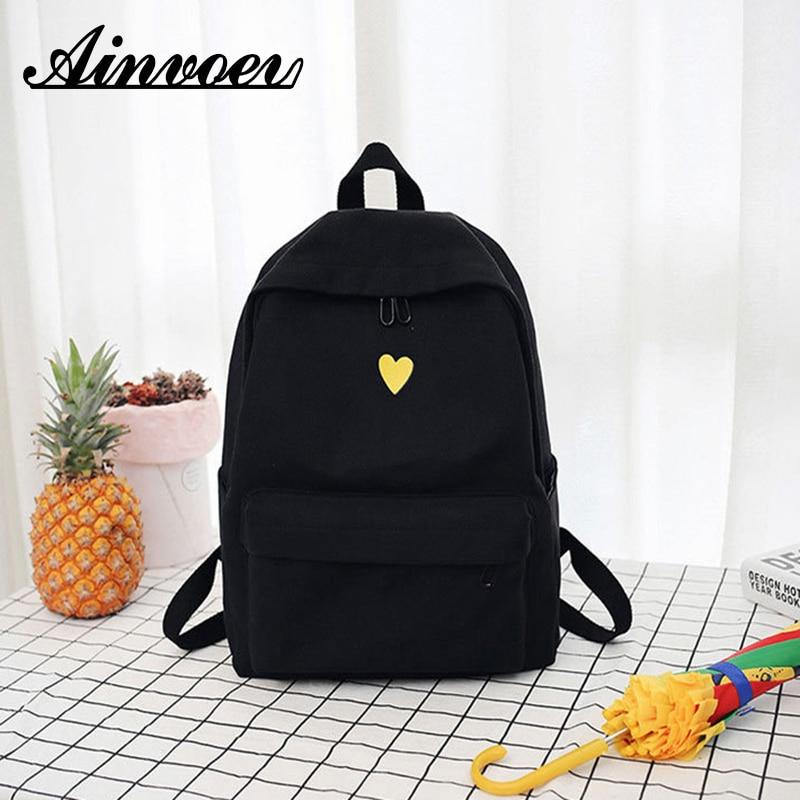 Ainvoev 2019 Girl bag female backpack wild simple college style backpack Hemp Printed Yellow Heart Backpack  Student Travel Bag