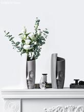 Vase de décoration de visage humain   Original, en céramique, original, pour salon, comptoir, décoration de mariage