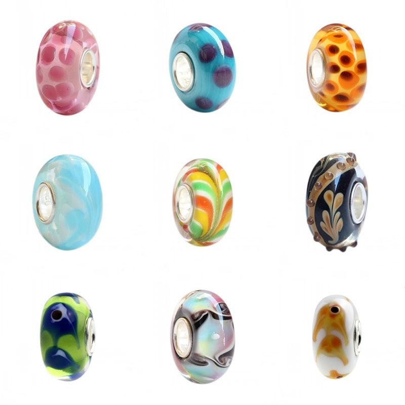 925 Plata de Ley gran agujero colorido 3D flores Charm Vidrio delicado Beads Fit pulsera Europea joyería
