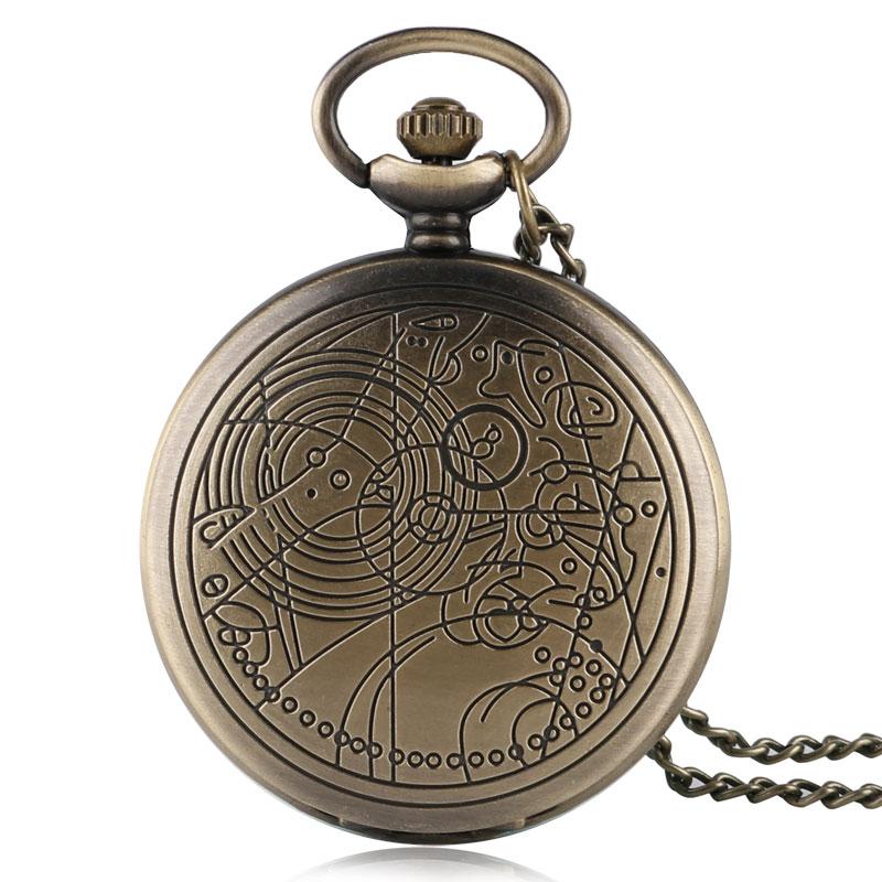 Бронзовые ВИНТАЖНЫЕ КВАРЦЕВЫЕ ЧАСЫ Doctor Who с подвеской в античном стиле, подарочное ожерелье с цепочкой, ретро цепочка, кварцевые карманные ч...