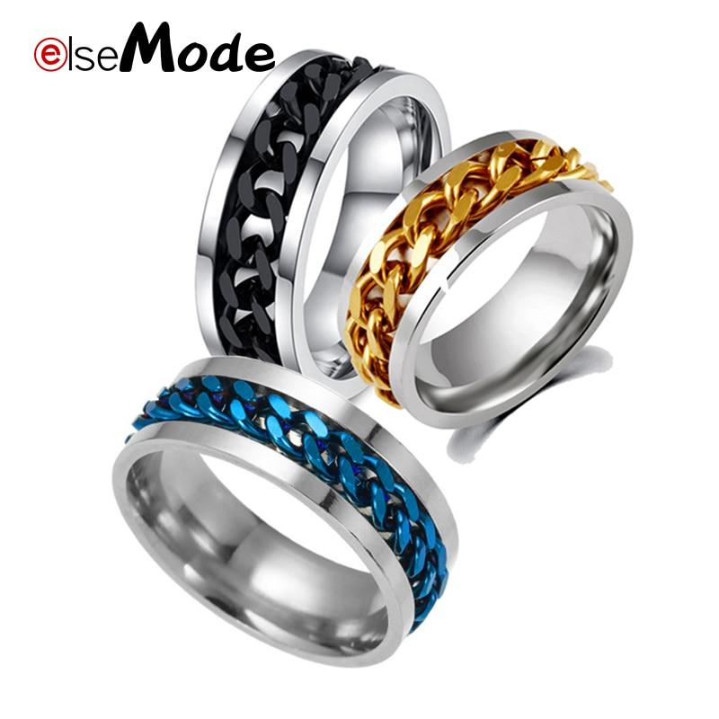 ELSEMODE, acero giratorio, oro, negro, azul, spinner con cadena, anillos de acero inoxidable, Punk Rock, anillo para hombres y mujeres, fábrica de joyería