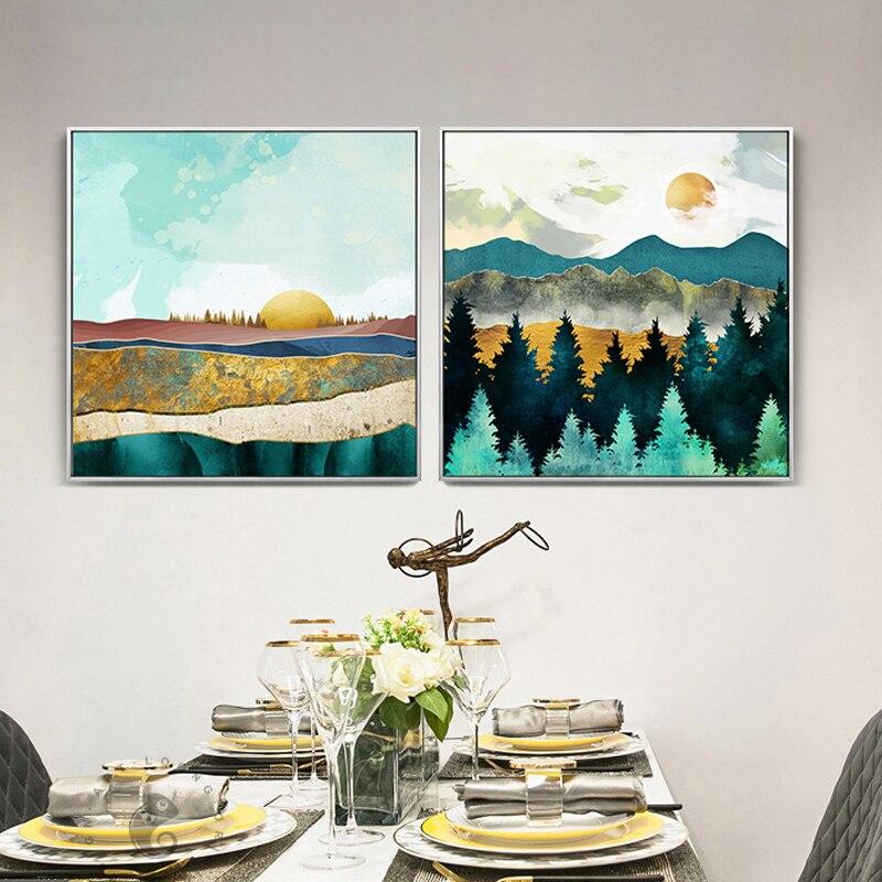 Paisaje Natural abstracto, campo dorado, nubes rosadas, bosque, sol, lienzo, imagen, arte de pared, póster para sala de estar, decoración del hogar HD