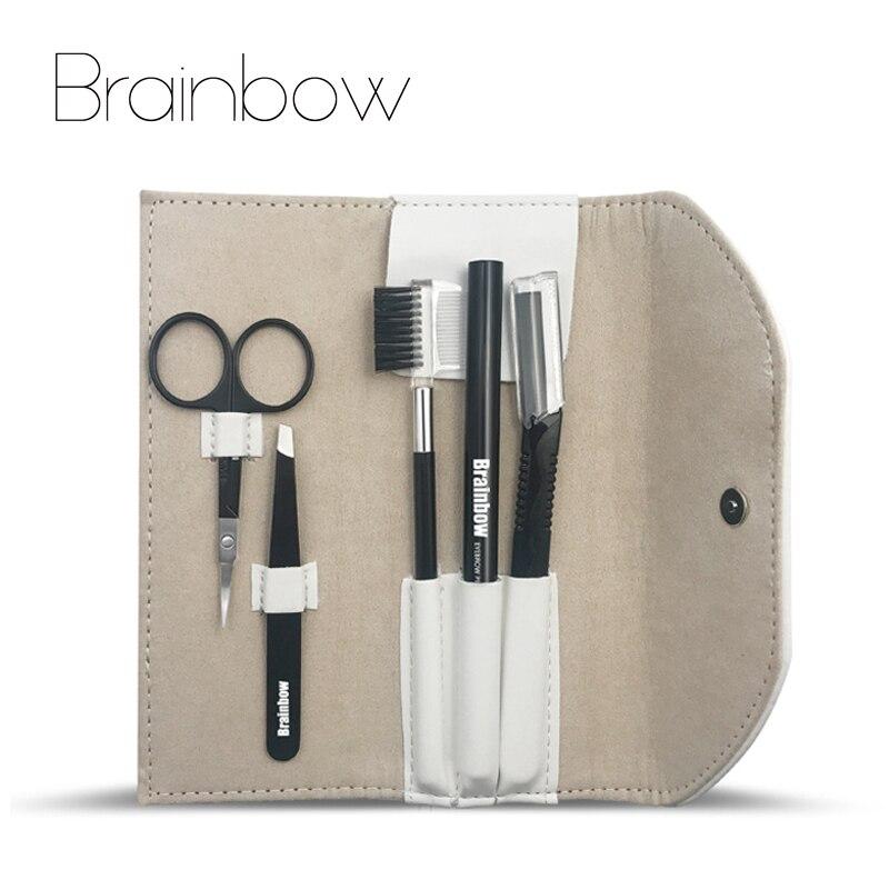 Brainbow 5pcs/bag Makeup Tool Kit Eyebrow Pen Eyebrow Tweezer Trimmer Razor Makeup Brushes Makeup Scissors Eyes Beauty Essential