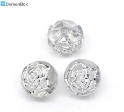 Doreen hot Box-300Pcs Cinza Folha Flor Redonda de Acrílico Pequeno Buraco Beads 8mm(B10553)