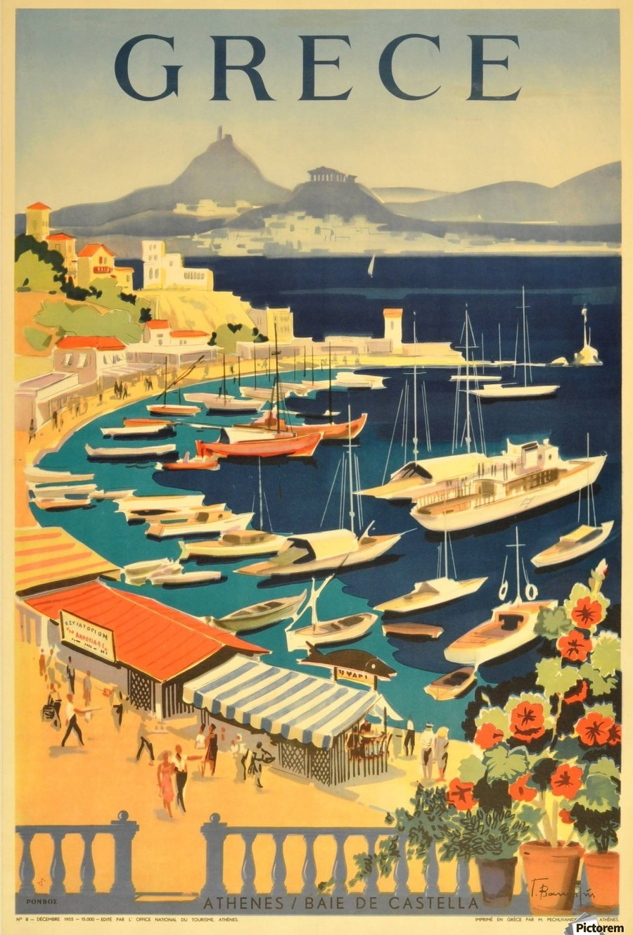 Greece original vintage travel poster SILK POSTER Decorative Wall painting 24x36Inch