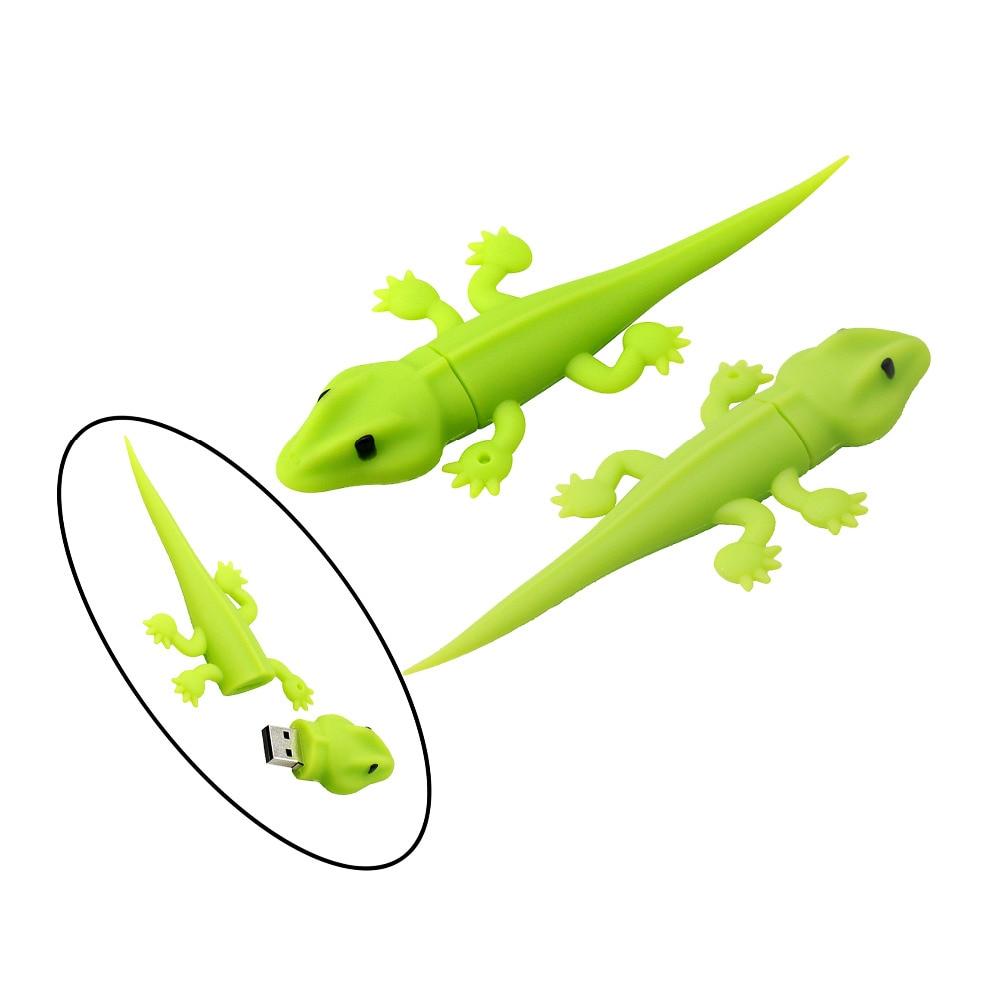 Memoria Flash USB de animales de dibujos animados de camaleón lagarto verde 4GB 8GB lápiz de memoria USB disco U regalo creativo