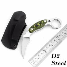 Cuchillo de Karambit de acero D2 de alta calidad, mango Mikta, cuchillos de caza para acampar, cuchillo táctico de supervivencia al aire libre, herramientas EDC de bolsillo
