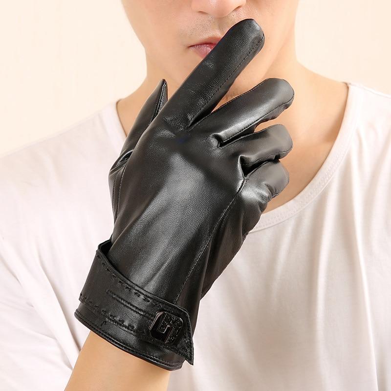 2018 New Winter Genuine Leather Gloves MenS Sheepskin Black Fashion Driving Goat Z05-5